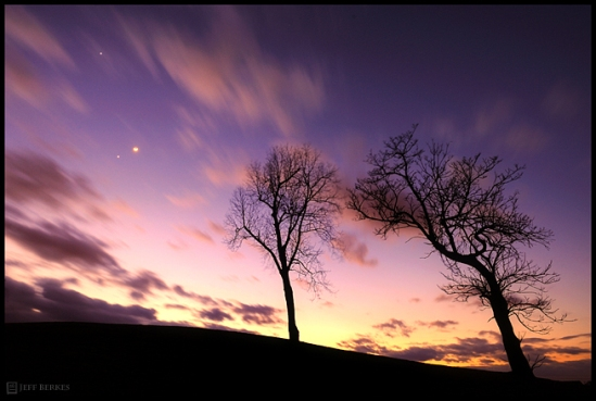 Sunset Sky Show -  The Crescent Moon, Venus and Jupiter