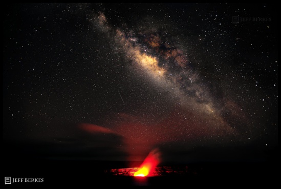 Volcano and Perseid Meteor 2010